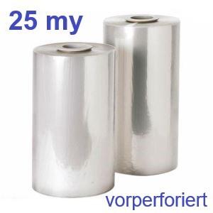 Polyolefin-Feinschrumpf-Halbschlauchfolie 25 my - perforiert