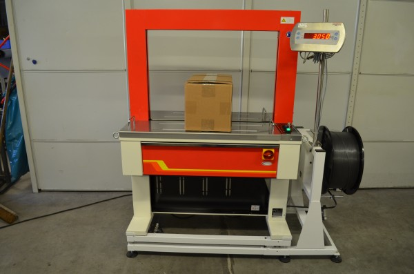 Automatische Rahmenumreifungsmaschine Modell 9000 mit integrierter Waage